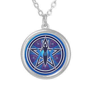 Dreifaches Mond goddes Pentagramm Halskette Mit Rundem Anhänger