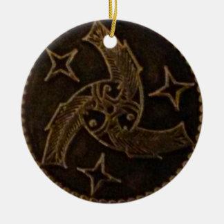 Dreiheit des Gottes - drei Fische Rundes Keramik Ornament