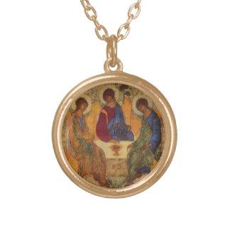 Dreiheits-Engel bei Mamre Halskette Mit Rundem Anhänger
