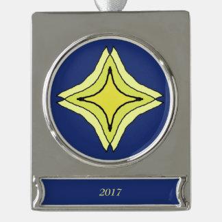 Dreiheits-Stern Banner-Ornament Silber