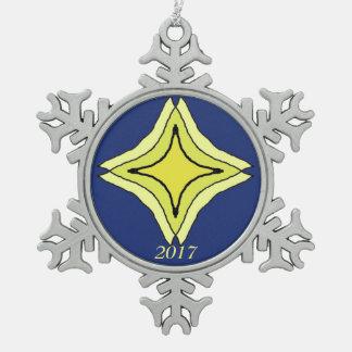 Dreiheits-Stern Schneeflocken Zinn-Ornament