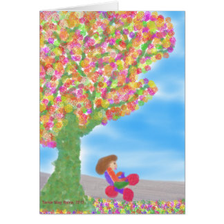 Dreirad unter einer magischen Baum-Grußkarte Karte