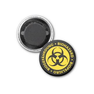 Dreisprachige Biogefährdung-Warnung Runder Magnet 3,2 Cm