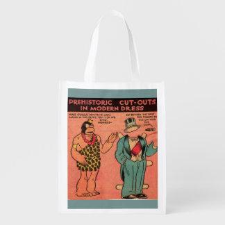 Dreißigerjahre Comic-Höhlenmann-Papierpuppe König Wiederverwendbare Einkaufstasche