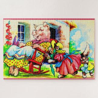 Dreißigerjahre Mutter-Miezekatze und Puzzle
