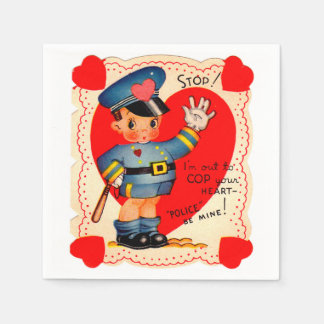 Dreißigerjahre Polizei-Jungen-Valentinsgruß Papierservietten