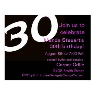 Dreißigste Geburtstags-Party-Postkarten-Einladung Postkarte