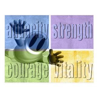 Dreistigkeits-Stärken-Mut-u. Vitalitäts-Postkarte Postkarte