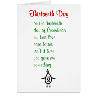 Dreizehnter Tag - ein lustiges Weihnachtsgedicht Grußkarte