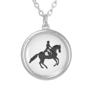Dressage-Aufkleber-Mosaik-Pferd und Reiter Versilberte Kette