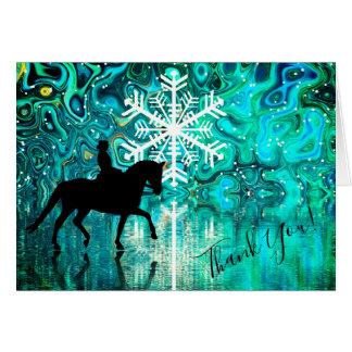Dressage-Pferd, Reiter-Winter-Schneeflocke danken Karte
