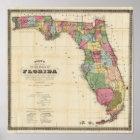 Drews neue Karte des Staat von Florida Poster