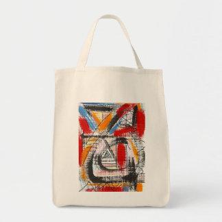 Dritte Auge-Hand gemalte abstrakte Kunst Einkaufstasche