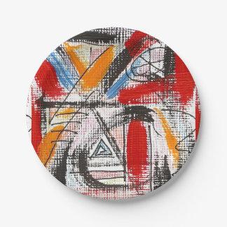 Dritte Auge-Hand gemalte abstrakte Kunst Pappteller
