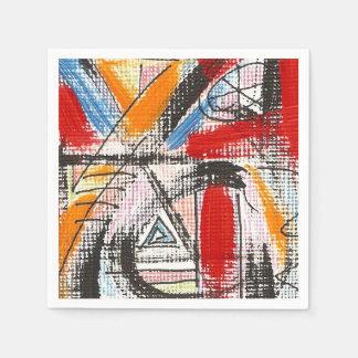 Dritte Auge-Hand gemalte abstrakte Kunst Serviette