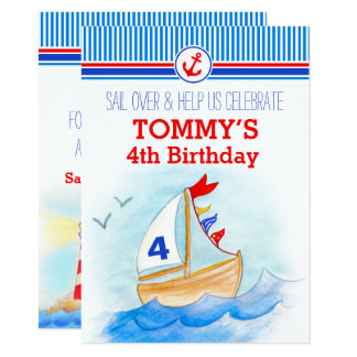 Dritter 4. Geburtstag der Segelboots-Seejungen Karte