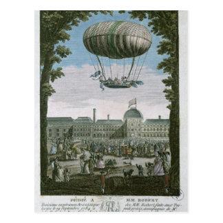Dritter Flug von Nicholas Robert und seiner Postkarte