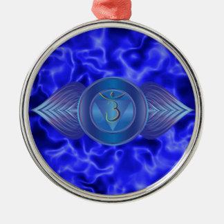 Drittes Auge Chakra Verzierungen Rundes Silberfarbenes Ornament