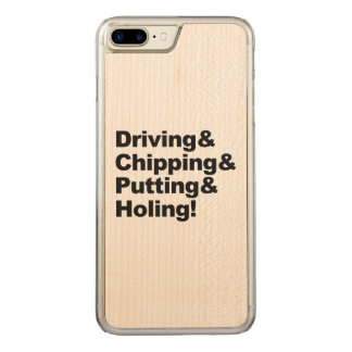 Driving&Chipping&Putting&Holing (Schwarzes) Carved iPhone 8 Plus/7 Plus Hülle