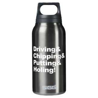 Driving&Chipping&Putting&Holing (weiß) Isolierte Flasche