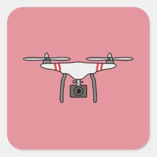 Drohne Quadcopter Fliegen-Front Quadratischer Aufkleber