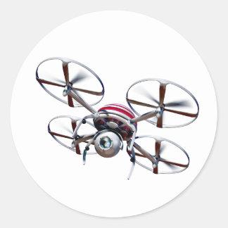 Drohne quadrocopter runder aufkleber