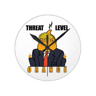 Drohungs-waagerecht ausgerichtete Orange Runde Wanduhr