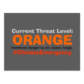 Drohungs-waagerecht ausgerichteter orange postkarte