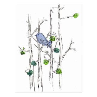 Drossel-Baum-zeichnende Natur-Federkunst Postkarte