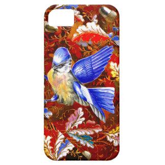 Drossel-blauer Vogel-Herbstlaub-Vintage Kunst Hülle Fürs iPhone 5