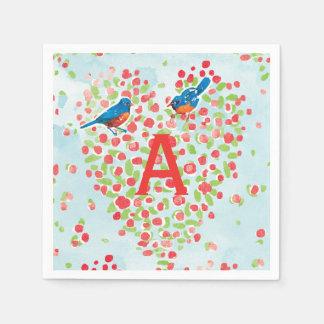 Drossel-Liebe-Vogel-Blumenherz-Monogramm Papierserviette
