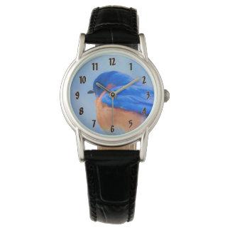 Drossel-Malerei - ursprüngliche Vogel-Kunst Uhr