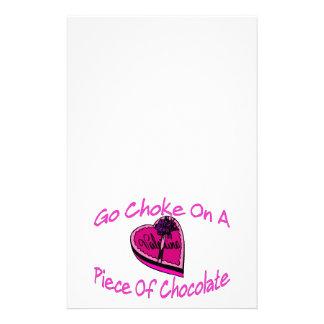 Drosselklappe auf Schokoladen-Valentinsgruß Briefpapier