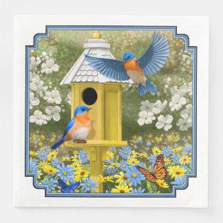 Drosseln und hoher gelber Birdhouse Servietten