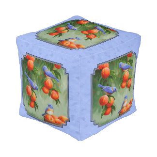 Drosseln und Pfirsiche blau Kubus Sitzpuff