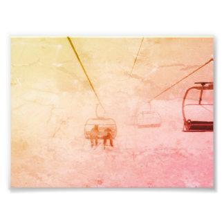 Druck des Skis und abstrakter des Fotos Snowbaord