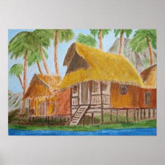 Druck einer Malerei der Grashütten Plakatdruck