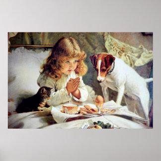 Druck: Frühstück im Bett: Mädchen, Foxterrier u. M Posterdruck