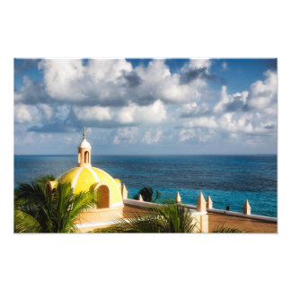 Druck - gelbe Haube Cancun nach Sonnenaufgang -