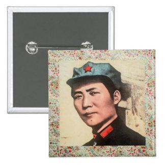 Druck Knopfes w/floral Generals Mao Zedong Quadratischer Button 5,1 Cm