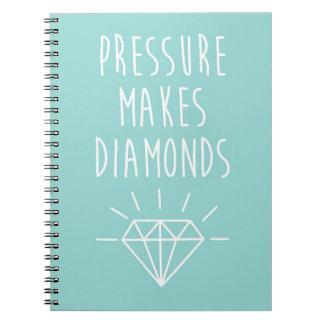Druck macht Diamant-Zitat Spiral Notizblock