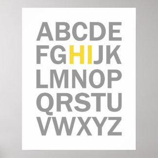 Druck oder Plakat des Alphabetes HI