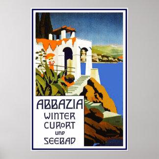 Druck-Retro Vintage Bild-Reise Abbazia Poster