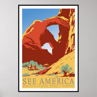 Druck-Retro Vintage Bild-Reise Amerika Poster