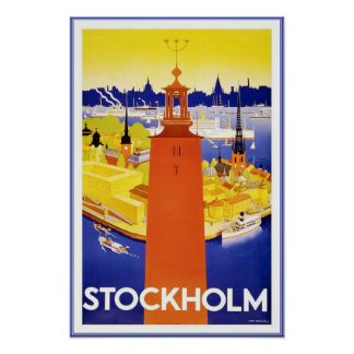 Druck-Retro Vintage Bild-Reise Stockholm Posterdruck