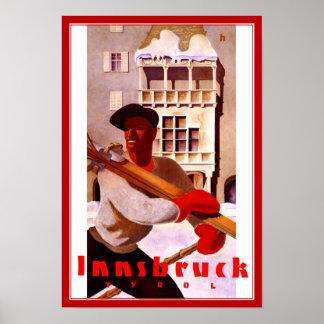 Druck-Retro Vintager Bild-Reise-Innsbruck-Ski Poster