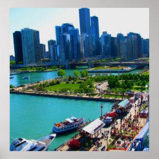 Druck von Chicago-Skylinen Poster