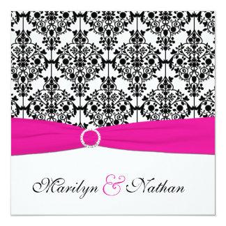 DRUCKband Rosa-weiße schwarze Damast-Hochzeit Quadratische 13,3 Cm Einladungskarte