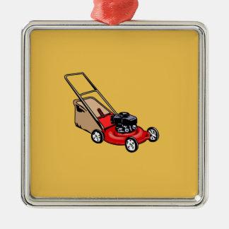 Drücken Sie Rasenmäher-Rot Silbernes Ornament