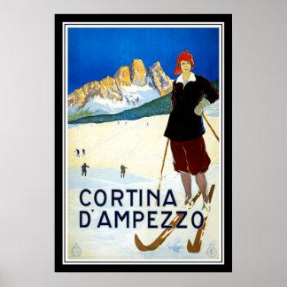 Drucken Sie Retro Vintages Bild-ReiseCortina d ` A Plakatdruck